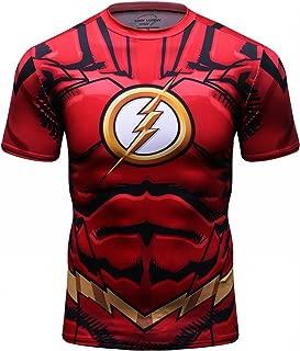 Red Plume Men's Compression Sport T-Shirt Tight Fitness Shirt Lightning Armor Sports Short Sleeve