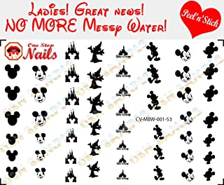 Mickey and Minnie Black and White V1. Set of 53 clear vinyl Peel and Stick nail art decals/stickers (NOT Waterslide) by One Stop Nails.
