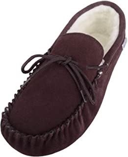 SNUGRUGS Mens Brown Suede Moccasin Slippers with Wool Lining and Suede Sole. Size 8
