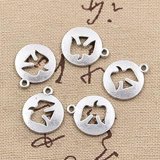 NING456 25 Pezzi di Ciondoli Colomba della Pace Ritagliata 18X15Mm Ciondolo Artigianale Fatto A Mano Che Si Adatta Vintage Bronzo Tibetano Colore Argento Fai da Te per Collana