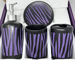 WPM 4 Piece Ceramic Bath Accessory Set | Includes Bathroom Designer Soap or Lotion Dispenser w/Toothbrush Holder, Tumbler, Soap Dish Choose from Purple Black Zebra Print