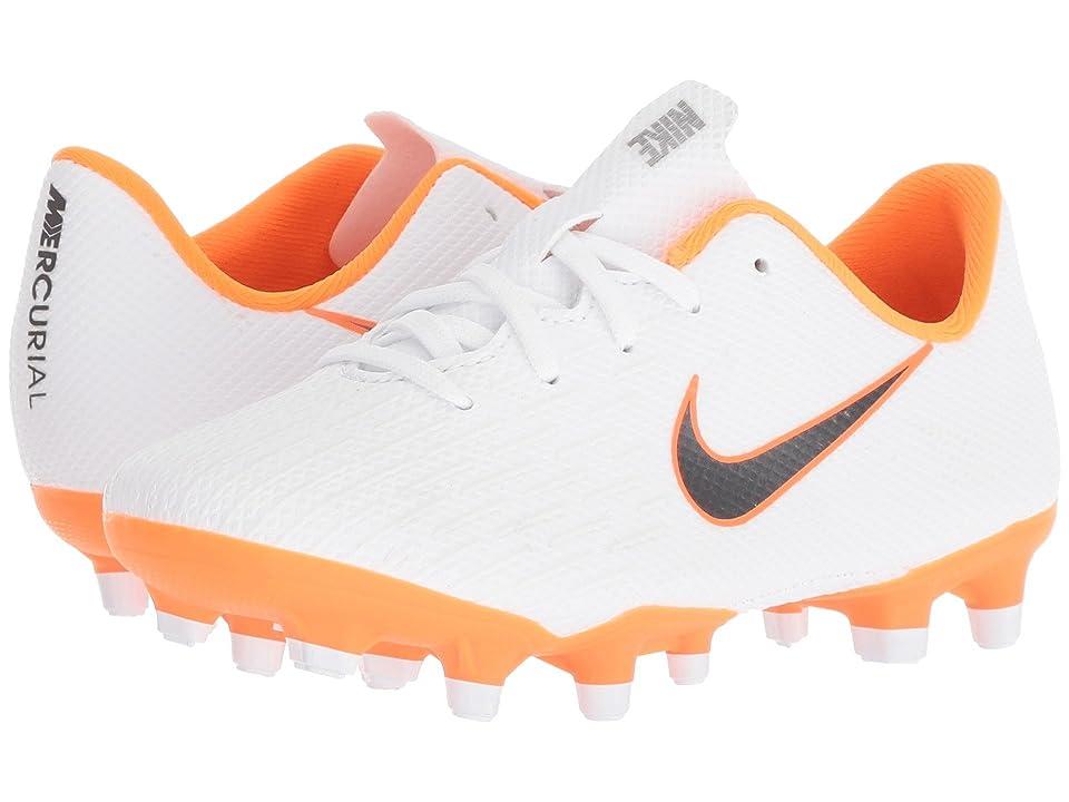Nike Kids Vapor 12 Academy MG Soccer (Toddler/Little Kid) (White/Metallic Cool Grey/Total Orange) Kids Shoes