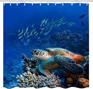BROSHAN Ocean Animal Shower Curtain Fabric,Sea Turtle Decor Tropical Fish Underwater Colorful Coral Reefs Print,Polyester Waterproof Bathroom Decor Set with Hooks,72x84 Inch,Navy Blue