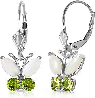 14k White Gold Opal and Peridot Butterfly Earrings
