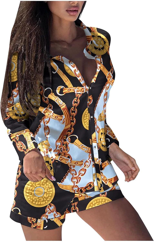 Women Sexy Printing Long Sleeve Zipper Button Shirt Top Design Shorts Suits Women Two Piece Sets