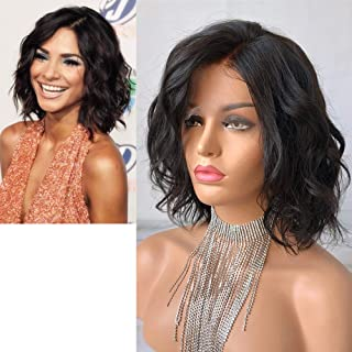 Cbwigs Glueless Short Bob Curly Human Hair Lace Front Wig with Baby Hair for Black Women 4.5 inch Deep Parting Loose Curly...