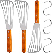 Fish Spatula Set, Stainless Steel Slotted Turner Metal Slotted Spatula for Flipping, Turning, Frying & Grilling with Woode...