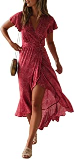 2830331475 ZESICA Women's Bohemian Floral Printed Wrap V Neck Short Sleeve Split Beach  Party Maxi Dress