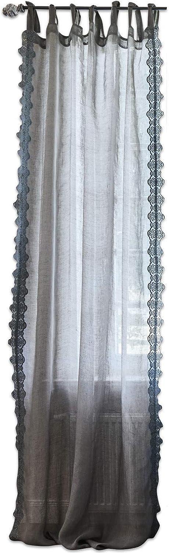 Loberon Gardine Lousianne, Leinen, H B ca. 250 140 cm, grau