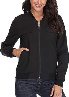 Frauen Die leichten Bomber Jacken Damen Jackets Mäntel Outwear beiläufige lässige Langen ärmeln Hülsen mit Mode Multi Taschen eleganten Windbreaker Mock Hals