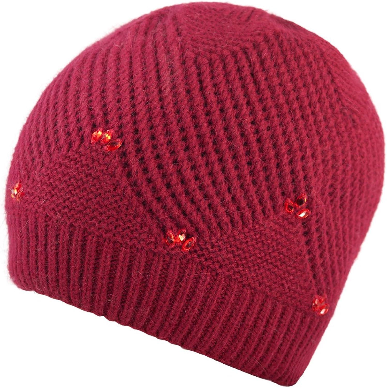 Dahlia Women's Angora Blend Beaded Slouch Beanie Winter Hat Dual Layer