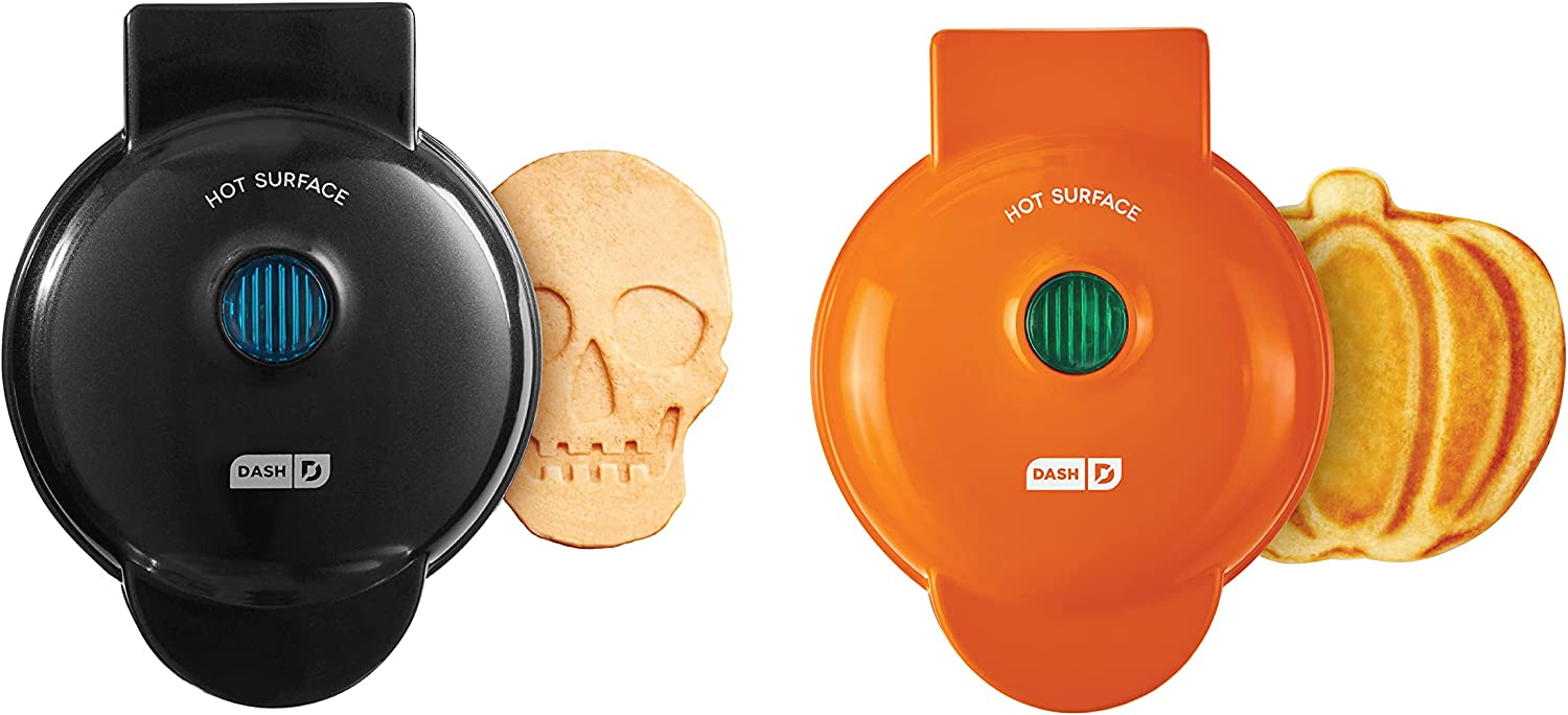 Dash Mini Waffle Maker (2 Pack) for Individual Waffles, Hash Browns, Keto Chaffles with Easy to Clean, Non-Stick Surfaces, 4 Inch, Halloween (Skull + Pumpkin)