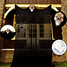 Super Scary Halloween Ghost Decorations, A Glowing Skull Hangs On The Black Flying Gauze,with Special Scary Sound Effects ...
