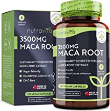 High Strength Maca Root Capsules 3500mg - 180 Vegan High Strength Capsules - 6 Months Supply - Made in The UK by Nutravita