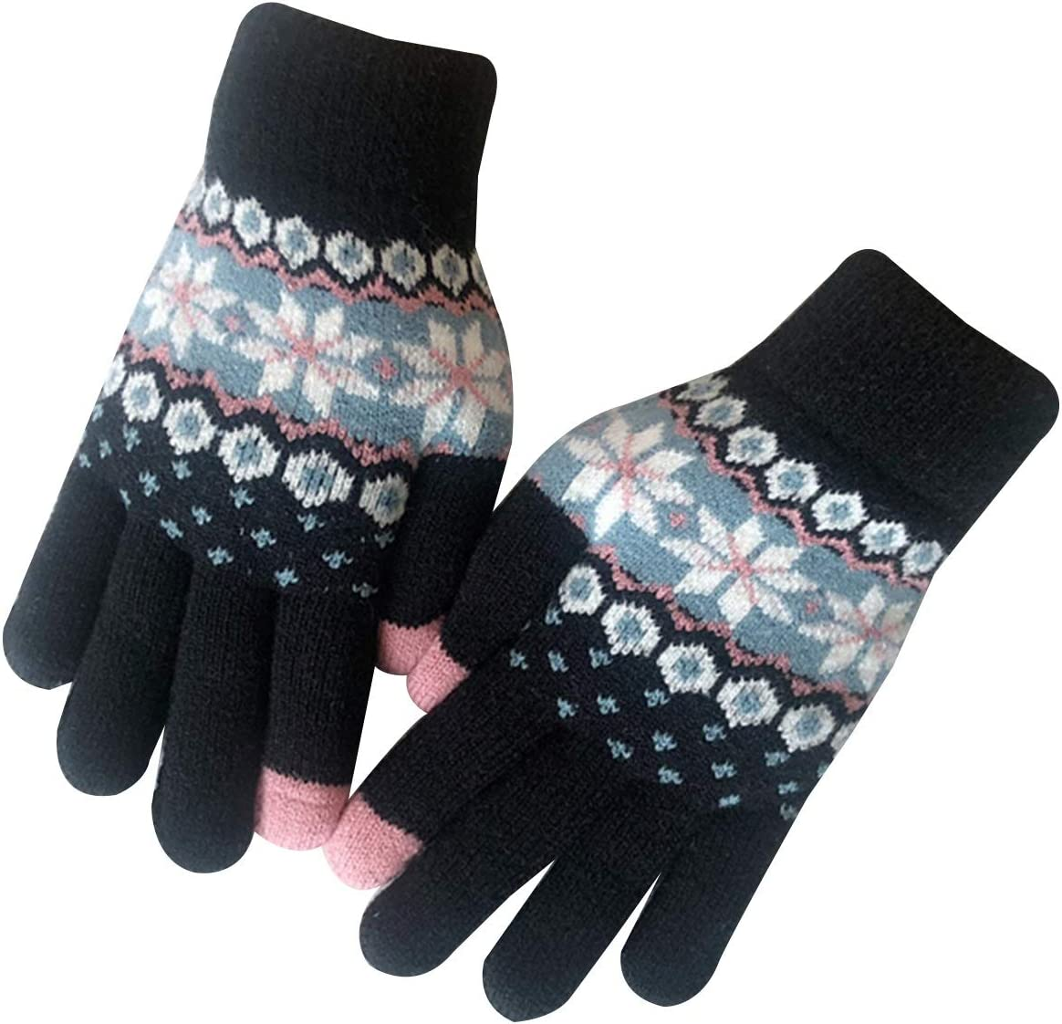Gloves Winter Gloves for Women, Touch Screen Thickened Christmas Warm Woolen Gloves, in 1 Size (Color : Black)