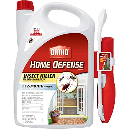 Ortho Home Defense MAX Insect Killer for Indoor & Perimeter1 with Comfort Wand - Kills Ants, Cockroaches, Spiders, Fleas, Ticks & Other Listed Bugs, Creates a Bug Barrier, 1.1 gal.