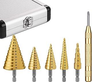 5PCS HSS Step Steel Cone Drill Hole Cutter AUSELECT Titanium Bits Set Kit with Aluminum Case