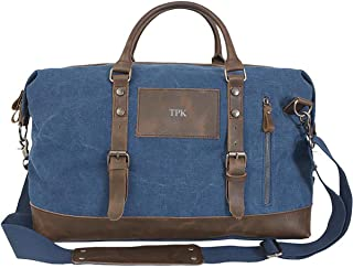Personalized Blue Canvas and Leather Weekender Duffel Bag - Silver