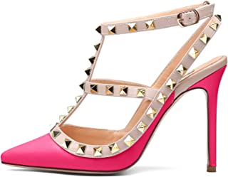 79457ceb8bd Chris-T Women Pointed Toe High Heels Studded Strappy Slingback Stilettos  Leather Sandals Pumps 4