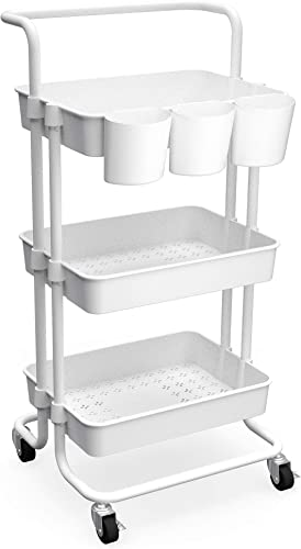 high quality CAXXA 3-Tier Rolling Storage Organizer with 3 Small Baskets wholesale and Handle - Mobile Utility Cart with Caster 2021 Wheels (White) outlet online sale
