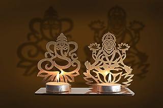 Aditri Creation Lakshmi Ganesh Diwali Shadow Diya Tea Light Holder for Home/Office.TeaLight Tlight Candle Holder Stand. Di...