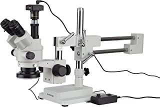 AmScope 3.5X-45X Boom Stand Trinocular Zoom Stereo Microscope with a Fiber Optic Ring Light and 14MP Camera