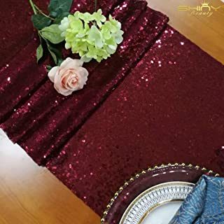 ShinyBeauty Sequin Table Runner Burgundy 12x108-Inch Runner Wine Table Covers for Party Bridal Shower Decorations -1025S