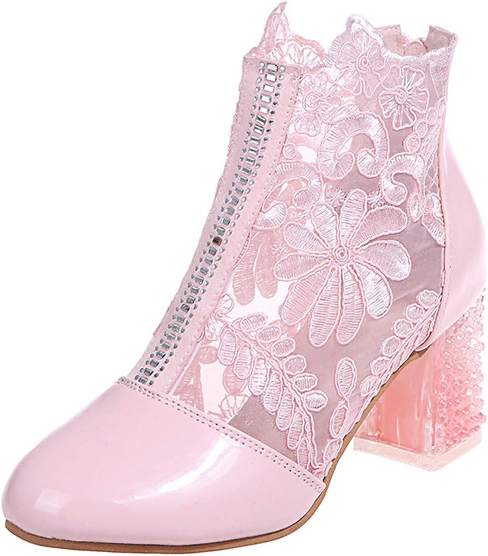 5 ☆ very popular ZYAPCNGN Low-Chunk Low Heel Pump Breath Max 67% OFF Sandals Yarn Net Women's