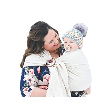 Nalakai Luxury Ring Sling Baby Carrier – Extra-Soft Bamboo and Linen Fabric - Lightweight wrap - for Newborns, Infants and Toddlers - Perfect Baby Shower Gift - Nursing Cover (Earth Mama Cream)