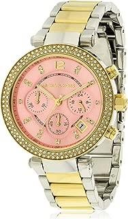 Michael Kors Parker Pink Dial Two Tone SS Quartz Chrono Ladies Watch MK6140