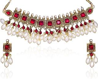Zaveri Pearls Kundan Pearl Drop Choker Necklace Set For Women - ZPAM42