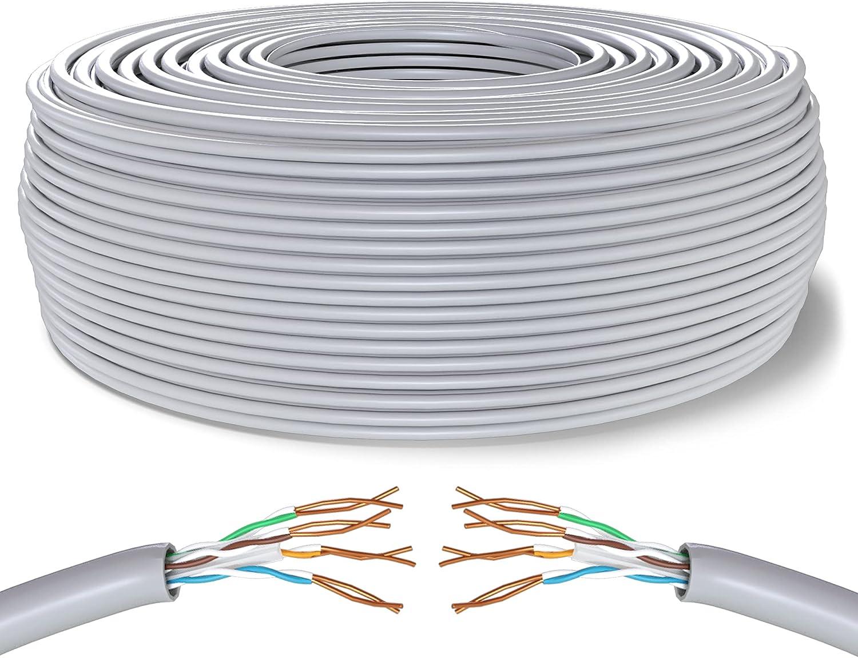 Mr. Tronic 200m Cable de Instalación Red Ethernet Bobina   CAT6, AWG24, CCA, UTP (200 Metros, Gris)