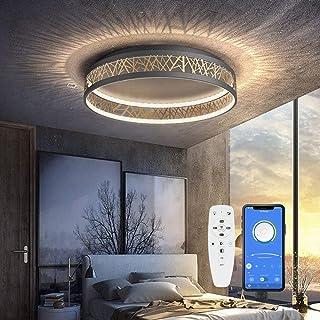 LED Deckenleuchte Mit Fernbedienung und App-Steuerung Dimmbar Schlafzimmer Lampe, Deckenleuchte Rund Schwarz Gold Aushöhle...