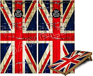 Cornhole Bag Toss Game Board Vinyl Wrap Skin Kit - Painted Faded and Cracked Union Jack British Flag (fits 24x48 game boards - Gameboards NOT INCLUDED)