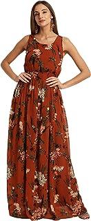 Harpa Women Round Neck Maxi Black Dress