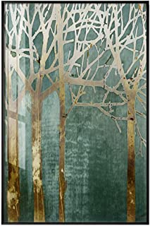 Memoirs- Abstract Green Forest Gold Lucky Tree Canvas Art Plant Poster HD Painting On The Wall for Living Room Fashion Cuadros Decoracion,75x50cm (No Frame),A