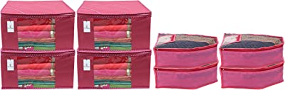 Kuber Industries Non Woven 4 Pieces Saree Cover/Cloth Wardrobe Organizer and 4 Pieces Blouse Cover Combo Set (Pink) CTKTC045335