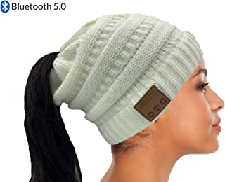 Bluetooth Hat, Women's Ponytail Beanie with Wireless Headphone, Knit Hat Gift for Women & Teens, HiFi Sound Quality, Built-in Mic, Hands-Free Music Hat (Cream)