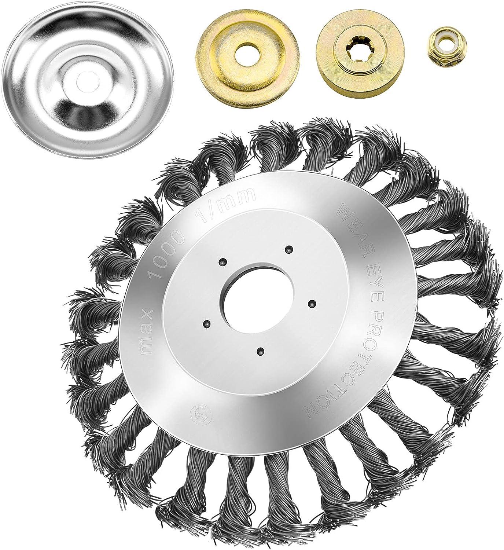 Aoliandatong Cepillo desherbador, 150 x 25,4 mm, cónico, desbrozadora, cepillo de alambre, con 4 adaptadores, 6 pulgadas, forma cónica, alambre de acero