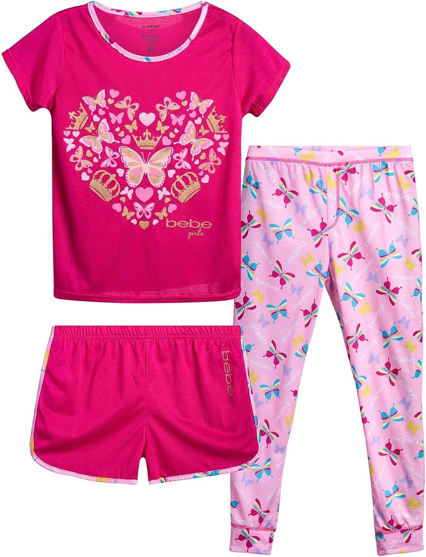 bebe Girls' Pajama Set – 3 Piece T-Shirt, Shorts, and Pants Sleepover Bundle