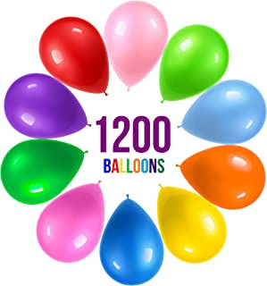Prextex 1200 Party Balloons 12 Inch 10 Assorted Rainbow Colors - Extra Bulk Pack of Strong Latex Balloons for Party Decorations, Birthday Parties Supplies or Arch Decor - Helium Quality