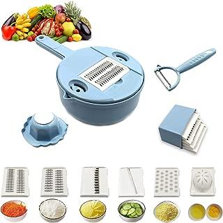 Vegetable Slicer 12 in 1 Vegetable Spiralizer Cutter and Shredder Kitchen Multipurpose Grater with Guard and Egg white Separator Meals Veggie Food Dicer (Blue)