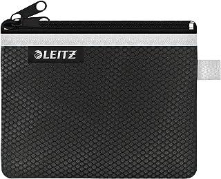 Leitz WOW Reisetui Met 2 Vakken, Nylon Rits, Wasbaar, Ideaal Als Kunststof Portemonnee, Klein (14x10,5 centimeter) - Zwart