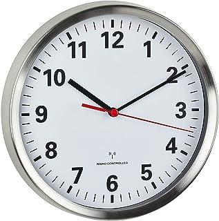TFA Dostmann 60.3529.02 - Reloj de pared inalámbrico con mecanismo silencioso (acero inoxidable, con pilas), color blanco