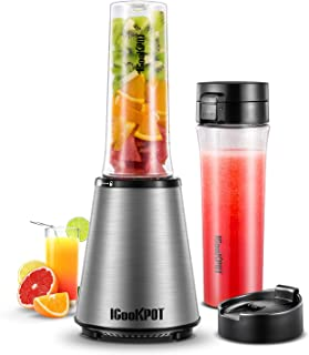 ICOOKPOT Smoothie Blender with 2 BPA-Free Portable Travel Bottles Single Serve Blender for Shakes and Smoothies Frozen Fruit Vegetable Juice Maker, 300W SS