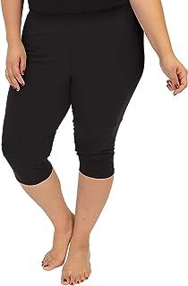 Stretch is Comfort Women's Plus Size Knee Length Leggings Black 4X