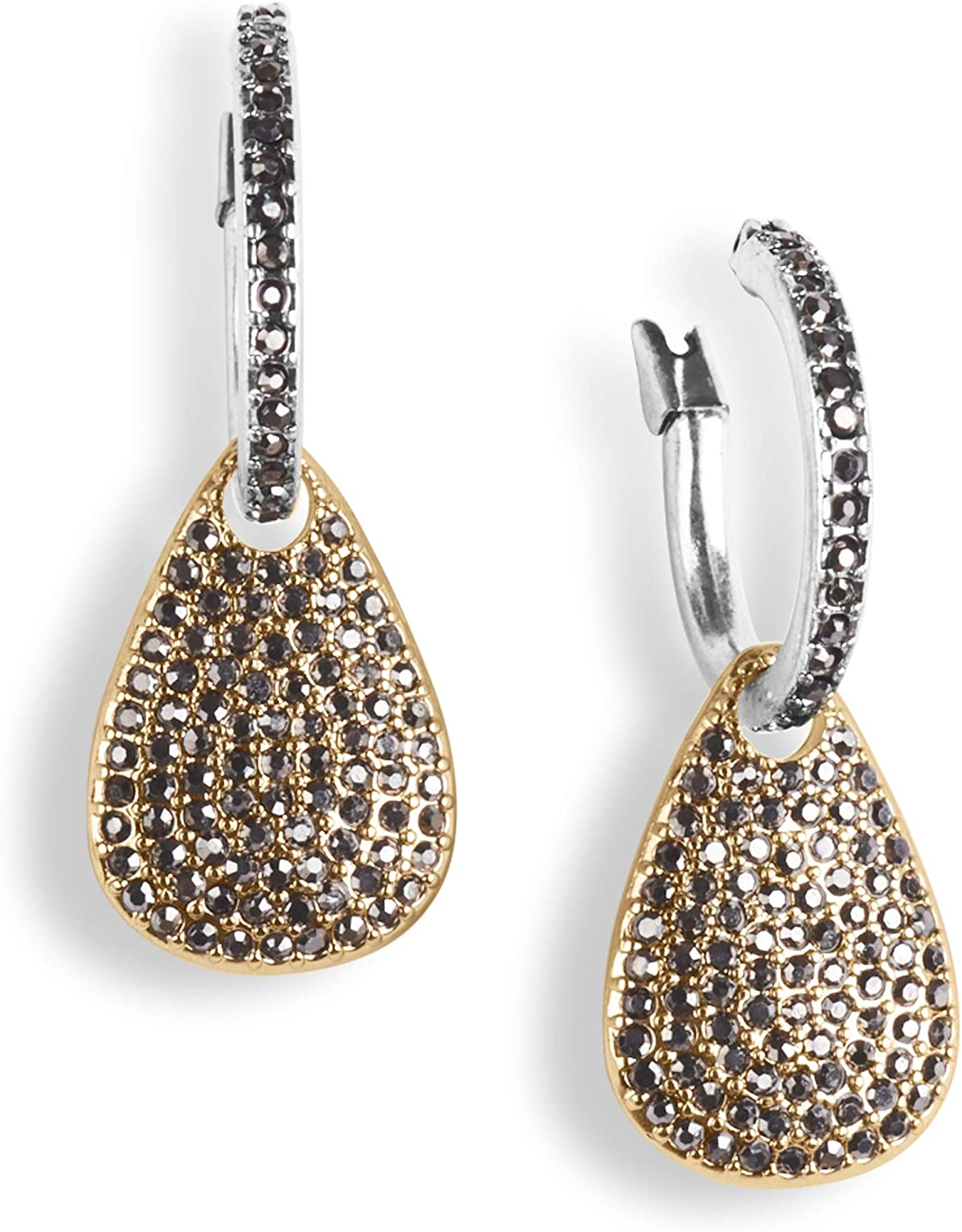 Lucky Brand Pave Charm Hoop Earrings, Two Tone