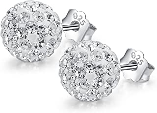 Neoglory Jewelry 925 Sterling Silver Round Cubic Zirconia Stud Earrings