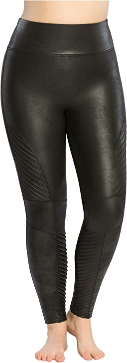 Plus Size Faux Leather Moto Leggings