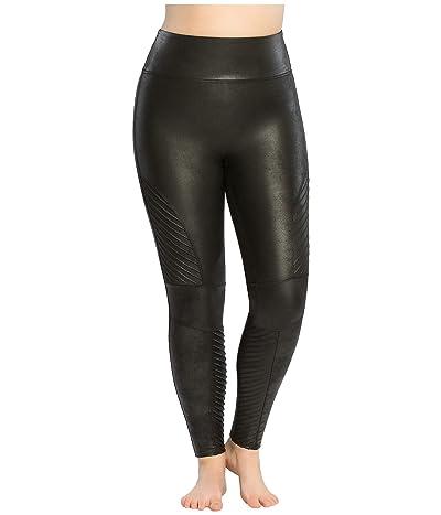 Spanx Plus Size Faux Leather Moto Leggings (Very Black) Women